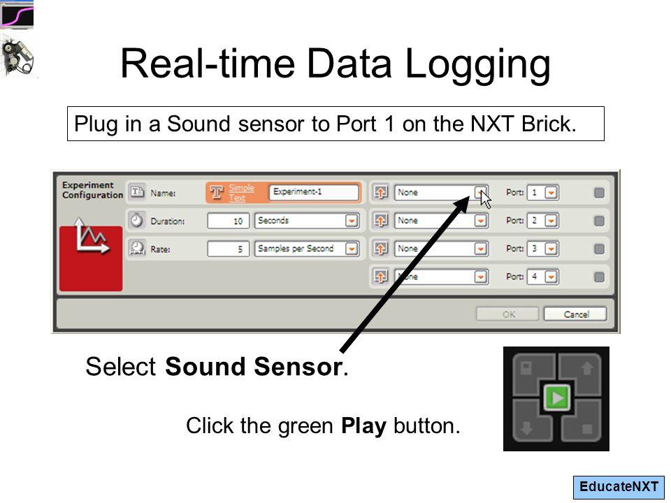 EducateNXT Real-time Data Logging Select Sound Sensor.