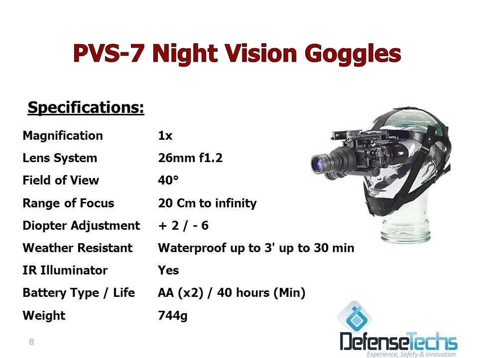 Specifications: Magnification1x Lens System26mm f1.2 Field of View40° Range of Focus20 Cm to infinity Diopter Adjustment+ 2 / - 6 Weather ResistantWaterproof up to 3 up to 30 min IR IlluminatorYes Battery Type / LifeAA (x2) / 40 hours (Min) Weight744g 6