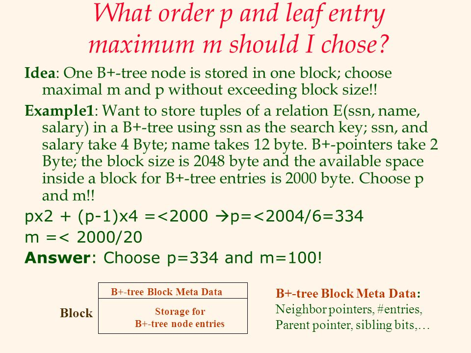 What order p and leaf entry maximum m should I chose? Idea : One B+-tree node is stored in one block; choose maximal m and p without exceeding block s