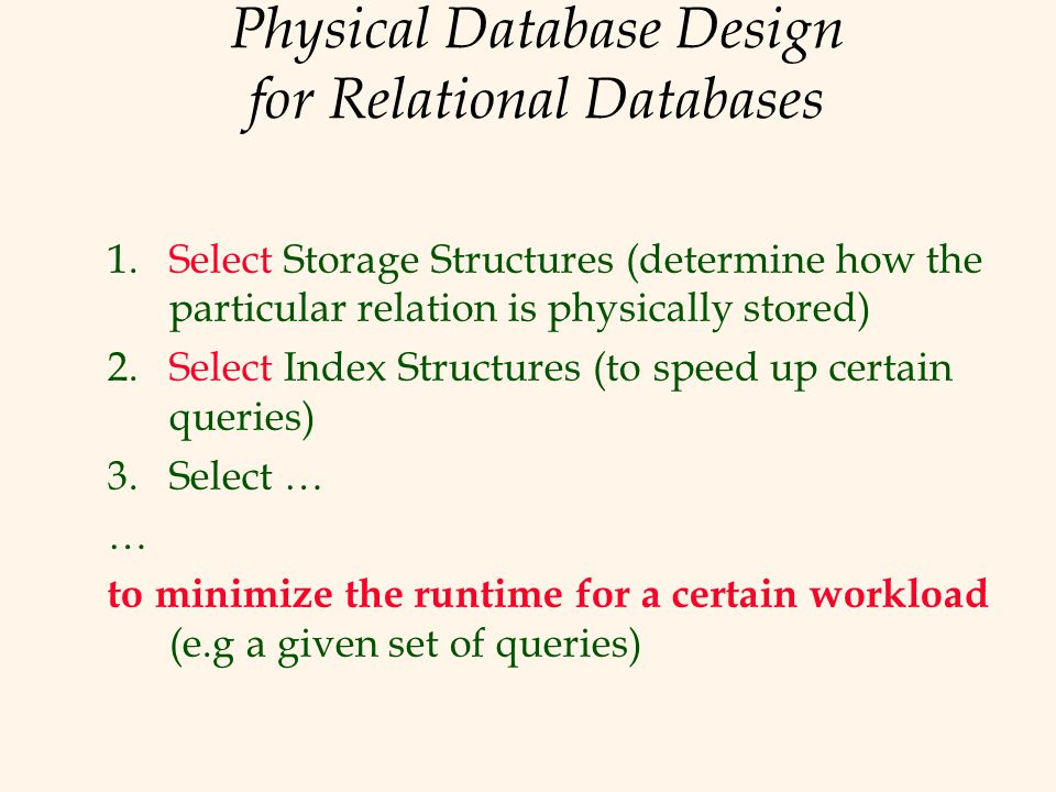Physical Database Design for Relational Databases 1.Select Storage Structures (determine how the particular relation is physically stored) 2.Select In