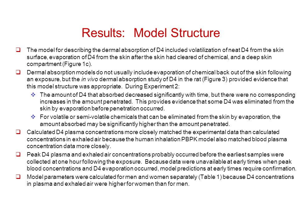 Results: Model Structure  The model for describing the dermal absorption of D4 included volatilization of neat D4 from the skin surface, evaporation of D4 from the skin after the skin had cleared of chemical, and a deep skin compartment (Figure 1c).