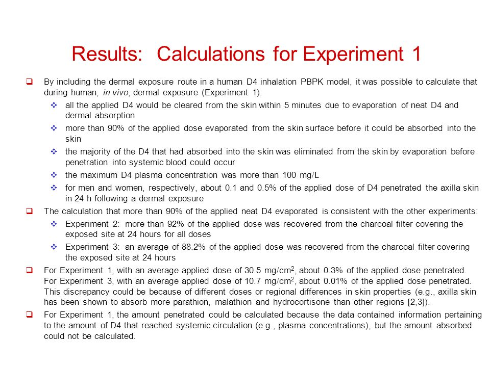 Results: Calculations for Experiment 1  By including the dermal exposure route in a human D4 inhalation PBPK model, it was possible to calculate that during human, in vivo, dermal exposure (Experiment 1):  all the applied D4 would be cleared from the skin within 5 minutes due to evaporation of neat D4 and dermal absorption  more than 90% of the applied dose evaporated from the skin surface before it could be absorbed into the skin  the majority of the D4 that had absorbed into the skin was eliminated from the skin by evaporation before penetration into systemic blood could occur  the maximum D4 plasma concentration was more than 100 mg/L  for men and women, respectively, about 0.1 and 0.5% of the applied dose of D4 penetrated the axilla skin in 24 h following a dermal exposure  The calculation that more than 90% of the applied neat D4 evaporated is consistent with the other experiments:  Experiment 2: more than 92% of the applied dose was recovered from the charcoal filter covering the exposed site at 24 hours for all doses  Experiment 3: an average of 88.2% of the applied dose was recovered from the charcoal filter covering the exposed site at 24 hours  For Experiment 1, with an average applied dose of 30.5 mg/cm 2, about 0.3% of the applied dose penetrated.