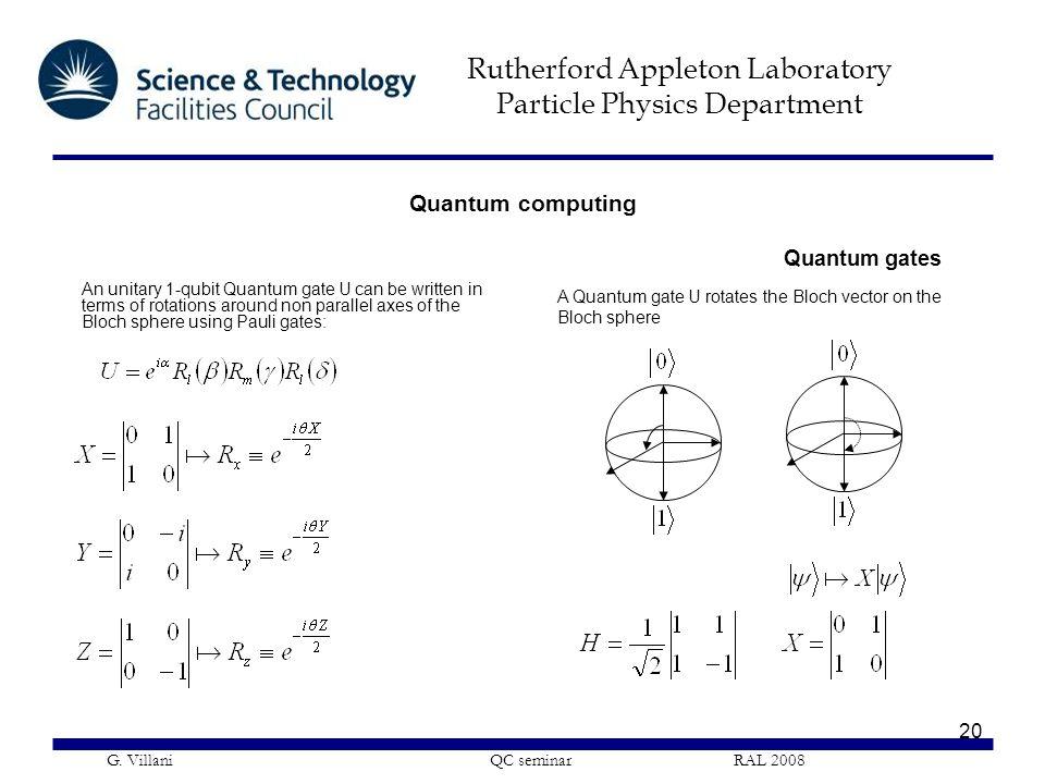 Rutherford Appleton Laboratory Particle Physics Department G. Villani QC seminar RAL 2008 20 Quantum gates A Quantum gate U rotates the Bloch vector o