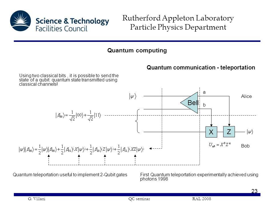 Rutherford Appleton Laboratory Particle Physics Department G. Villani QC seminar RAL 2008 23 Quantum computing Quantum communication - teleportation B