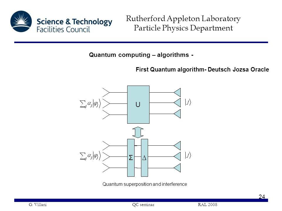 Rutherford Appleton Laboratory Particle Physics Department G. Villani QC seminar RAL 2008 24 Quantum computing – algorithms - First Quantum algorithm-