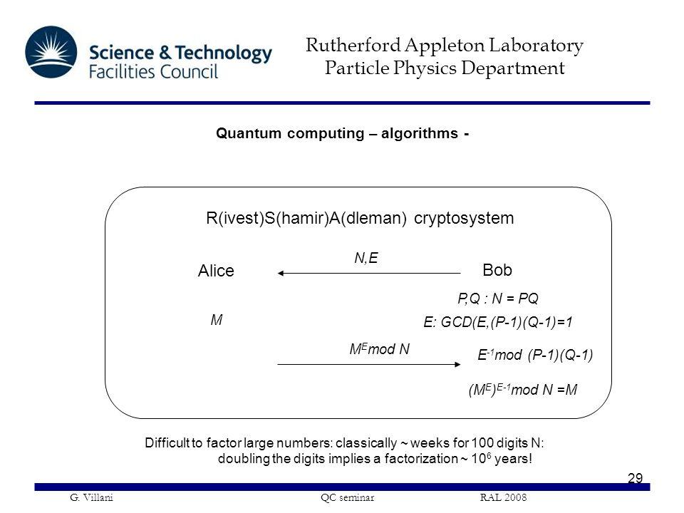 Rutherford Appleton Laboratory Particle Physics Department G. Villani QC seminar RAL 2008 29 R(ivest)S(hamir)A(dleman) cryptosystem Alice Bob N,E P,Q
