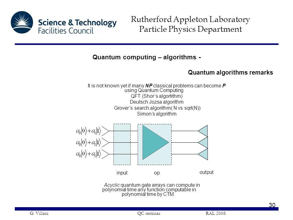Rutherford Appleton Laboratory Particle Physics Department G. Villani QC seminar RAL 2008 30 Quantum algorithms remarks Acyclic quantum gate arrays ca