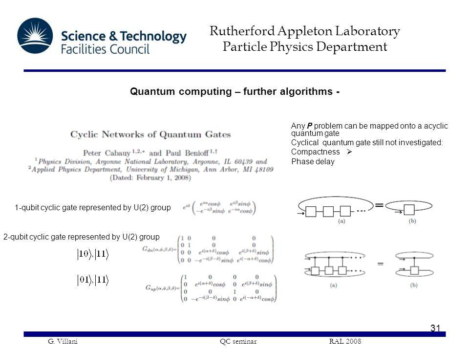 Rutherford Appleton Laboratory Particle Physics Department G. Villani QC seminar RAL 2008 31 1-qubit cyclic gate represented by U(2) group Any P probl