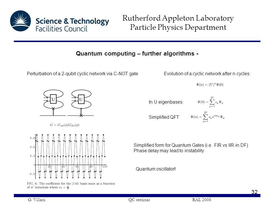 Rutherford Appleton Laboratory Particle Physics Department G. Villani QC seminar RAL 2008 32 Perturbation of a 2-qubit cyclic network via C-NOT gate S