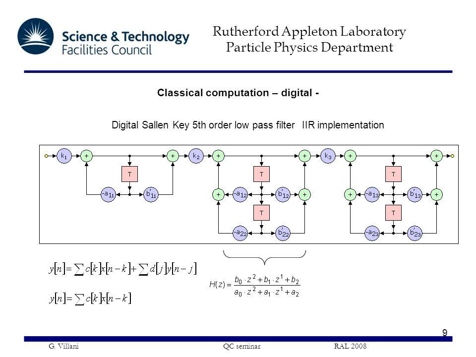 Rutherford Appleton Laboratory Particle Physics Department G. Villani QC seminar RAL 2008 9 Classical computation – digital - Digital Sallen Key 5th o
