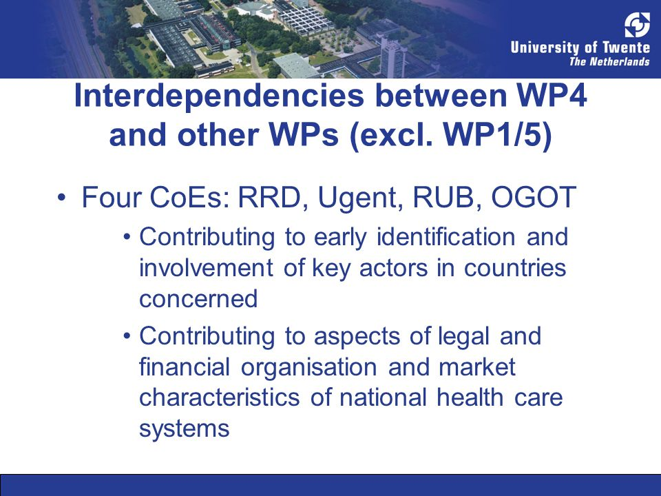 Interdependencies between WP4 and other WPs (excl.