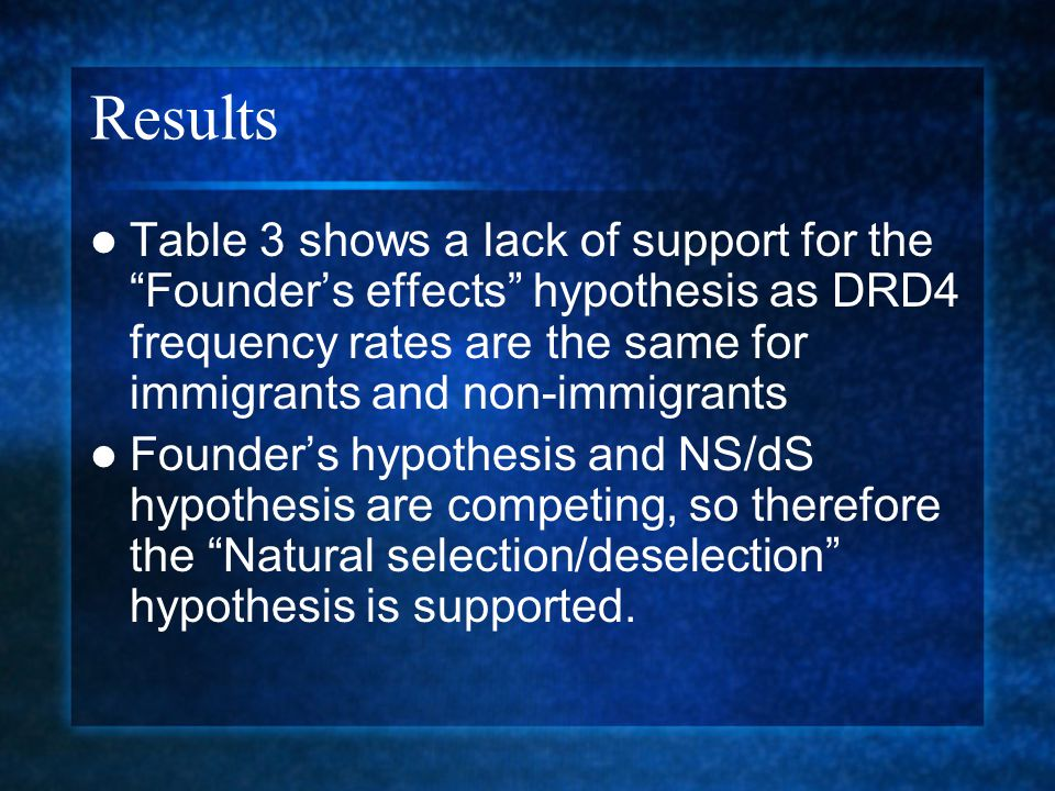 "Results Table 3 shows a lack of support for the ""Founder's effects"" hypothesis as DRD4 frequency rates are the same for immigrants and non-immigrants"
