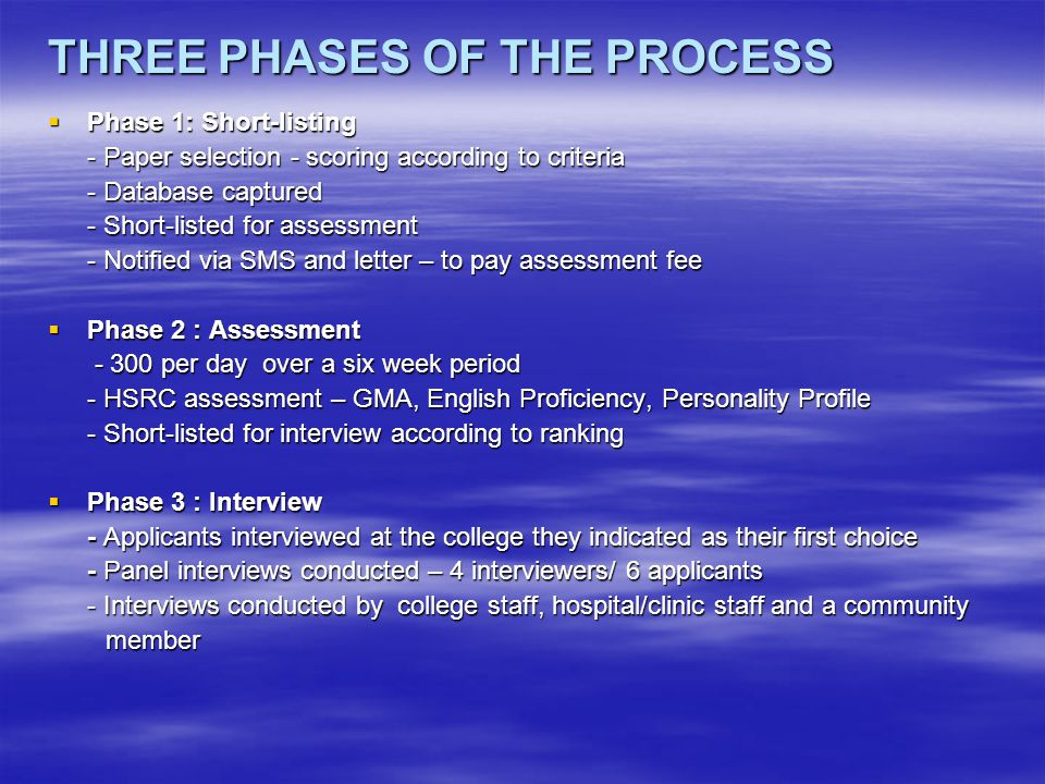 THREE PHASES OF THE PROCESS  Phase 1: Short-listing - Paper selection - scoring according to criteria - Database captured - Short-listed for assessment - Notified via SMS and letter – to pay assessment fee  Phase 2 : Assessment - 300 per day over a six week period - 300 per day over a six week period - HSRC assessment – GMA, English Proficiency, Personality Profile - Short-listed for interview according to ranking  Phase 3 : Interview - Applicants interviewed at the college they indicated as their first choice - Panel interviews conducted – 4 interviewers/ 6 applicants - Interviews conducted by college staff, hospital/clinic staff and a community member member