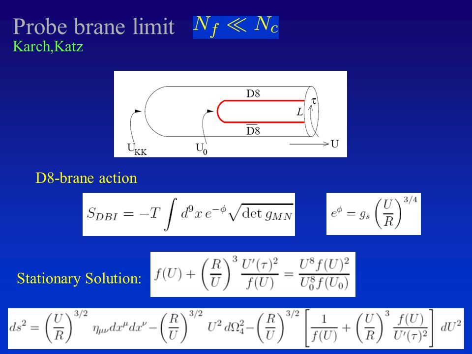 Probe brane limit D8-brane action Karch,Katz Stationary Solution: