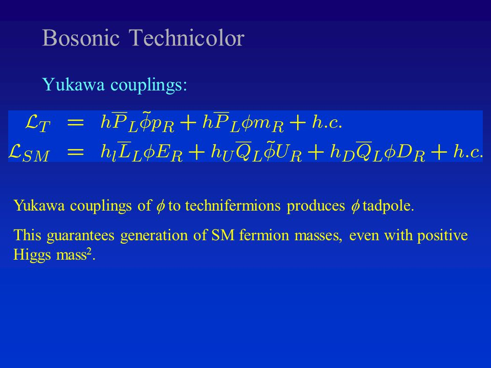 Bosonic Technicolor Yukawa couplings: Yukawa couplings of  to technifermions produces  tadpole.
