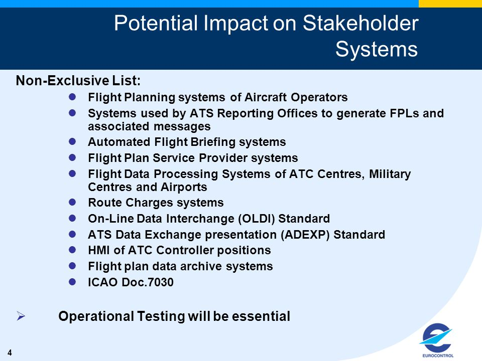 5 1.The ICAO European Air Navigation Planning Group (EANPG) has invited all States to support EUROCONTROL to develop an Implementation Plan of the new contents to the ICAO FPL for the ICAO EUR Region in order to ensure the required level of coordination for modifications to the Flight Data Processing Systems .