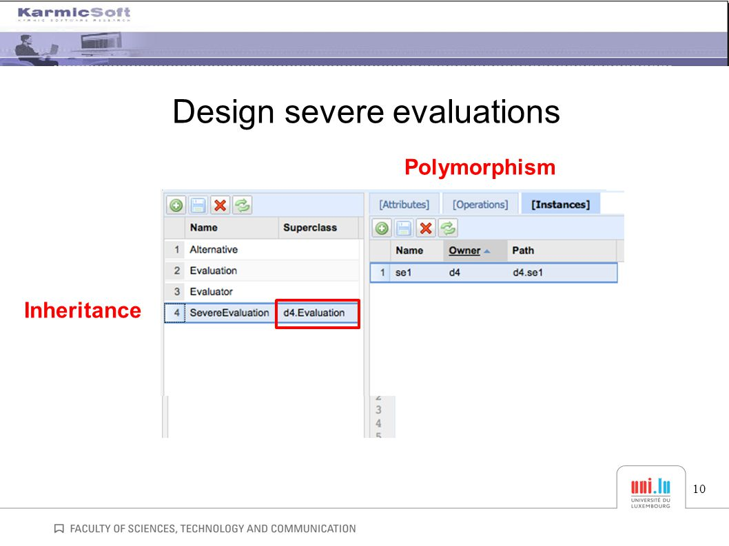 Design severe evaluations 10 Inheritance Polymorphism