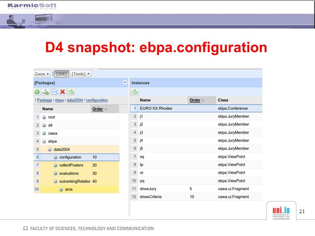 21 D4 snapshot: ebpa.configuration