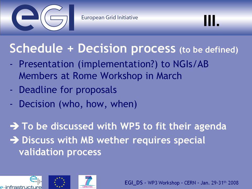 EGI_DS – WP3 Workshop – CERN – Jan.29-31 th 2008 III.