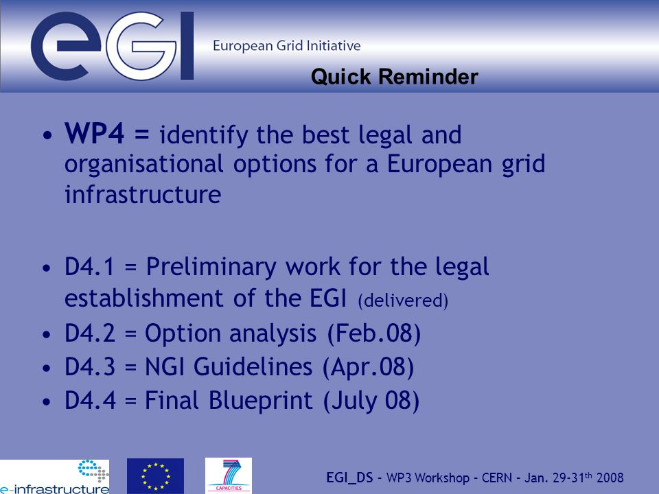 EGI_DS – WP3 Workshop – CERN – Jan. 29-31 th 2008 Quick Reminder WP4 = identify the best legal and organisational options for a European grid infrastr