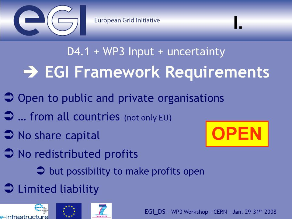 EGI_DS – WP3 Workshop – CERN – Jan. 29-31 th 2008 I.