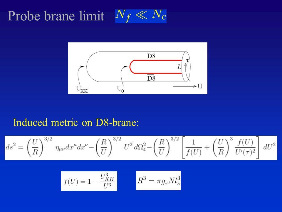 Probe brane limit Induced metric on D8-brane: