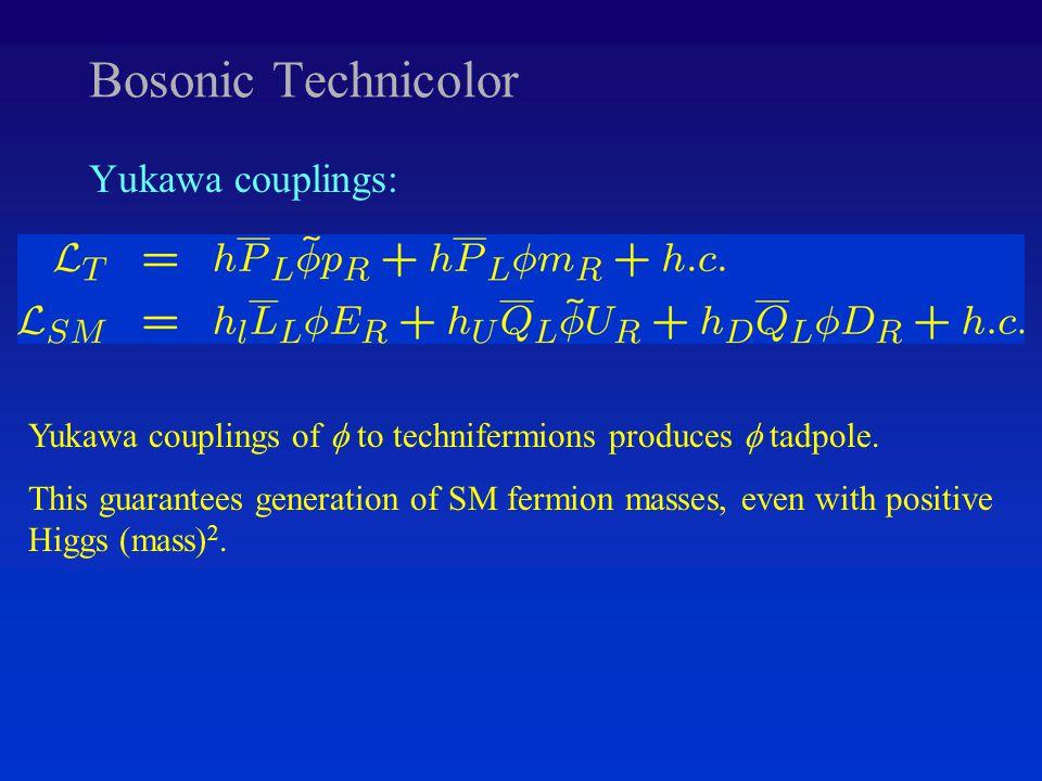 Bosonic Technicolor Yukawa couplings: Yukawa couplings of  to technifermions produces  tadpole.