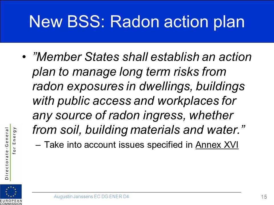 "Augustin Janssens EC DG ENER D4 15 New BSS: Radon action plan ""Member States shall establish an action plan to manage long term risks from radon expos"