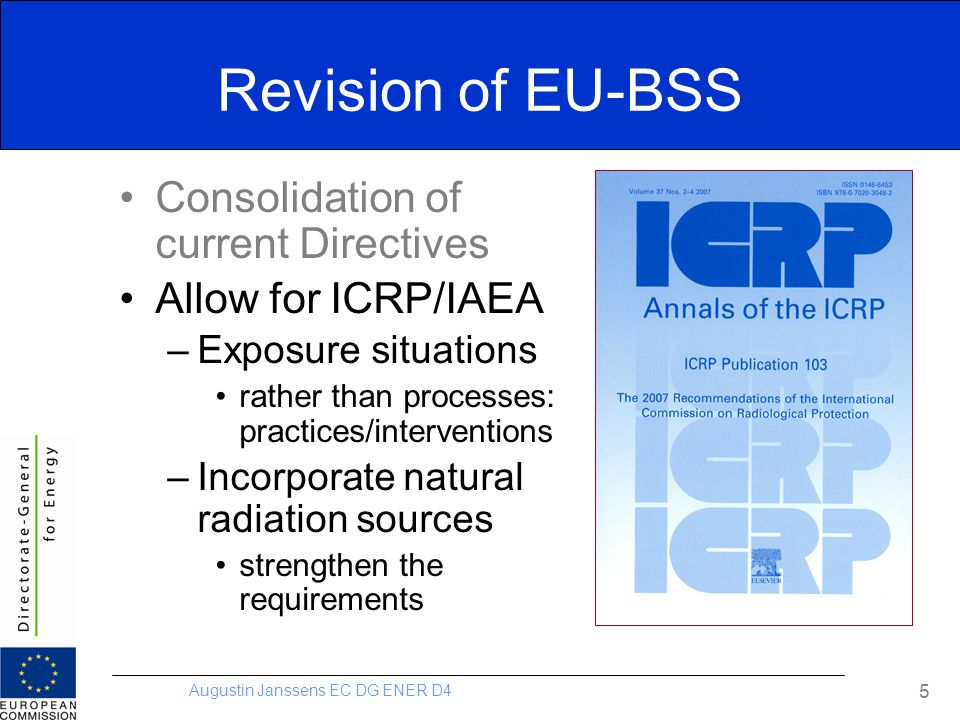 Augustin Janssens EC DG ENER D4 5 Revision of EU-BSS Consolidation of current Directives Allow for ICRP/IAEA –Exposure situations rather than processe