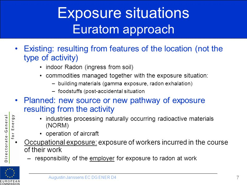 Augustin Janssens EC DG ENER D4 Exposure situations Euratom approach Existing: resulting from features of the location (not the type of activity) indo