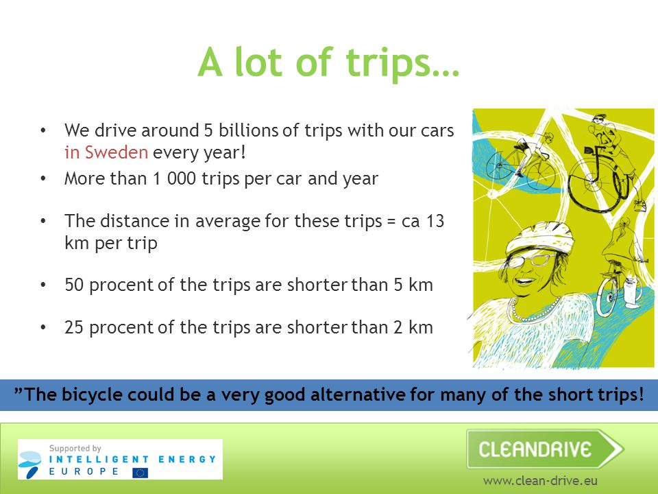 www.clean-drive.eu A lot of trips… We drive around 5 billions of trips with our cars in Sweden every year.