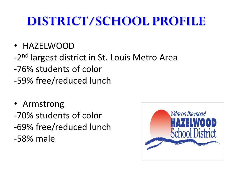 DISTRICT/SCHOOL PROFILE HAZELWOOD -2 nd largest district in St. Louis Metro Area -76% students of color -59% free/reduced lunch Armstrong -70% student