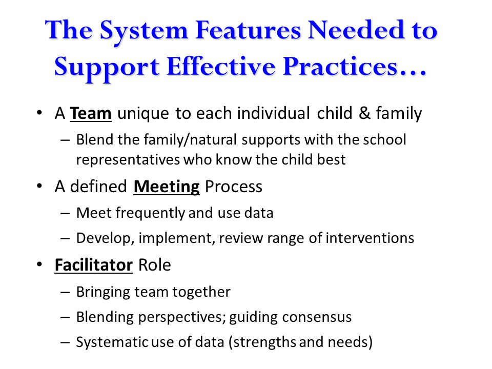 The System Features Needed to Support Effective Practices… A Team unique to each individual child & family – Blend the family/natural supports with th
