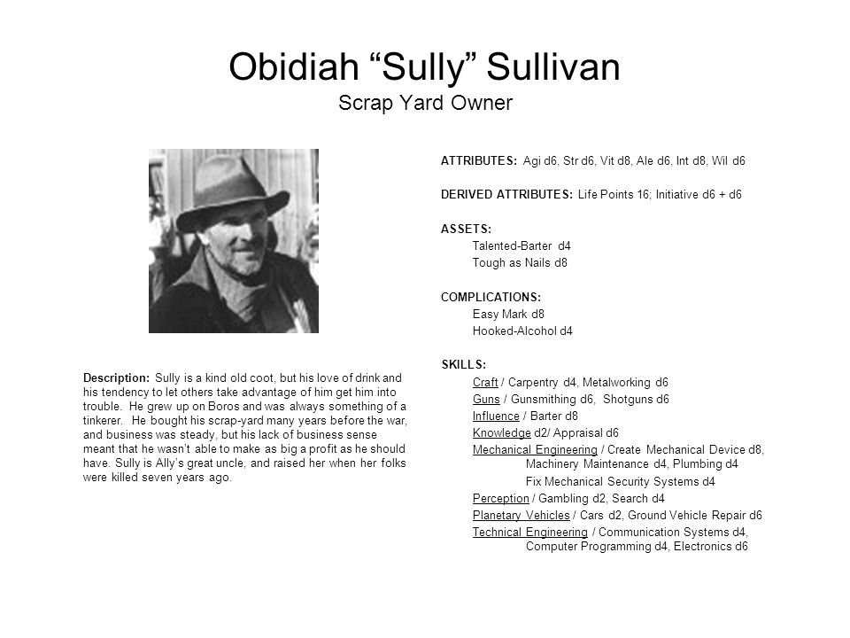 Obidiah Sully Sullivan Scrap Yard Owner Description: Sully is a kind old coot, but his love of drink and his tendency to let others take advantage of him get him into trouble.