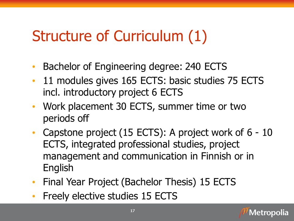 17 Structure of Curriculum (1) Bachelor of Engineering degree: 240 ECTS 11 modules gives 165 ECTS: basic studies 75 ECTS incl. introductory project 6