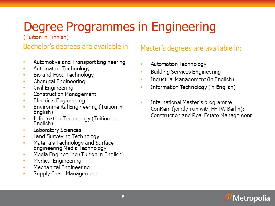 9 Degree Programmes in Engineering (Tuition in Finnish) Bachelor's degrees are available in Automotive and Transport Engineering Automation Technology