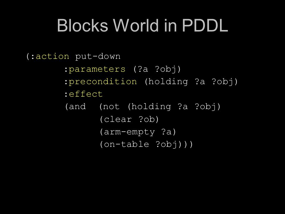 Blocks World in PDDL (:action put-down :parameters ( a obj) :precondition (holding a obj) :effect (and (not (holding a obj) (clear ob) (arm-empty a) (on-table obj)))