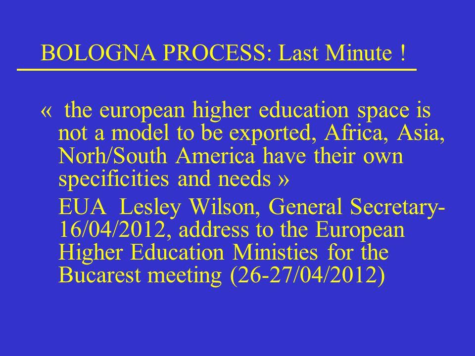 BOLOGNA PROCESS: Last Minute .