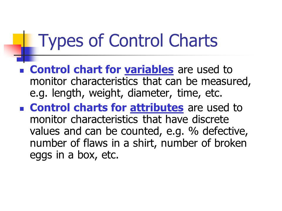Types of Control Charts Control chart for variables are used to monitor characteristics that can be measured, e.g. length, weight, diameter, time, etc