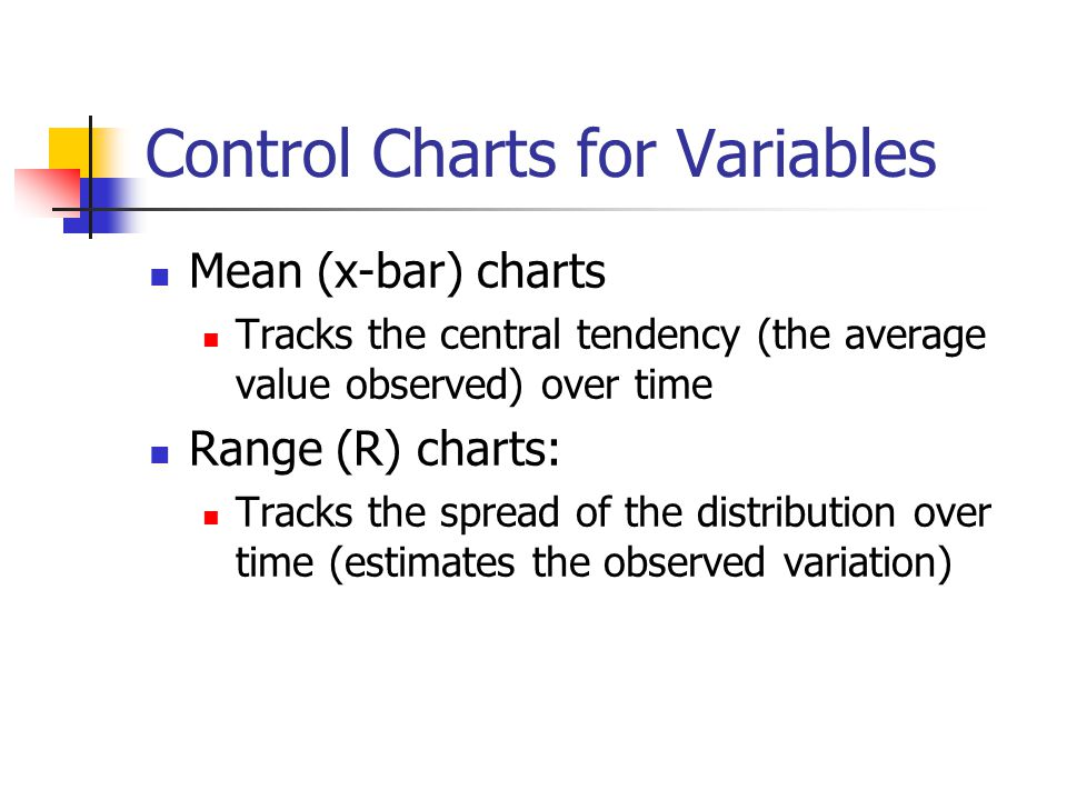 Control Charts for Variables Mean (x-bar) charts Tracks the central tendency (the average value observed) over time Range (R) charts: Tracks the sprea
