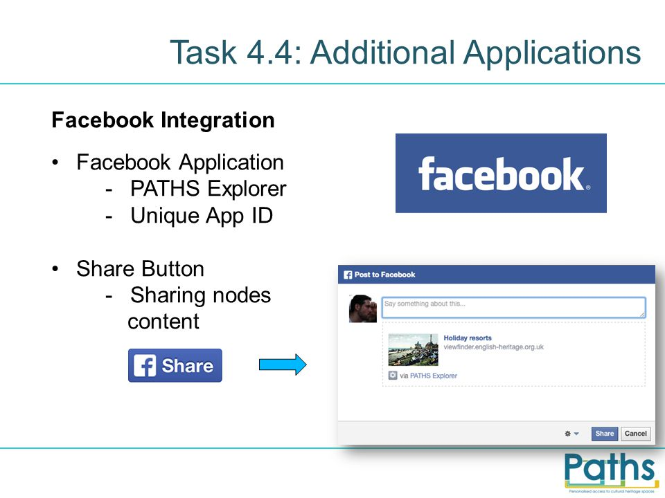 Task 4.4: Additional Applications Facebook Integration Facebook Application -PATHS Explorer -Unique App ID Share Button -Sharing nodes content