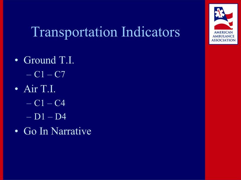 Transportation Indicators Ground T.I. –C1 – C7 Air T.I. –C1 – C4 –D1 – D4 Go In Narrative