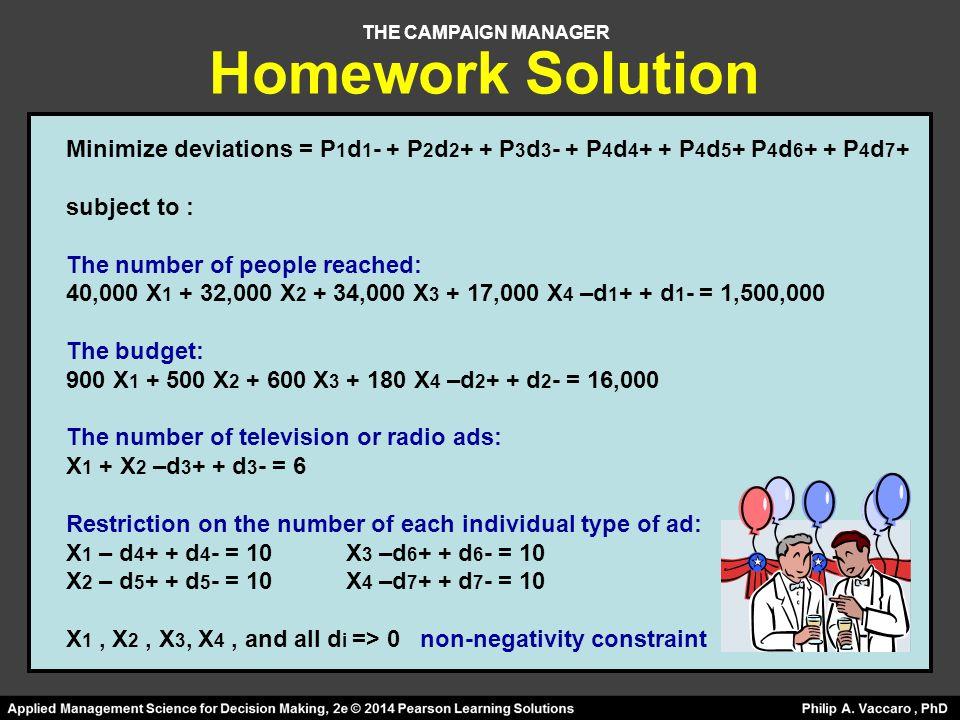 THE CAMPAIGN MANAGER Minimize deviations = P 1 d 1 - + P 2 d 2 + + P 3 d 3 - + P 4 d 4 + + P 4 d 5 + P 4 d 6 + + P 4 d 7 + subject to : The number of