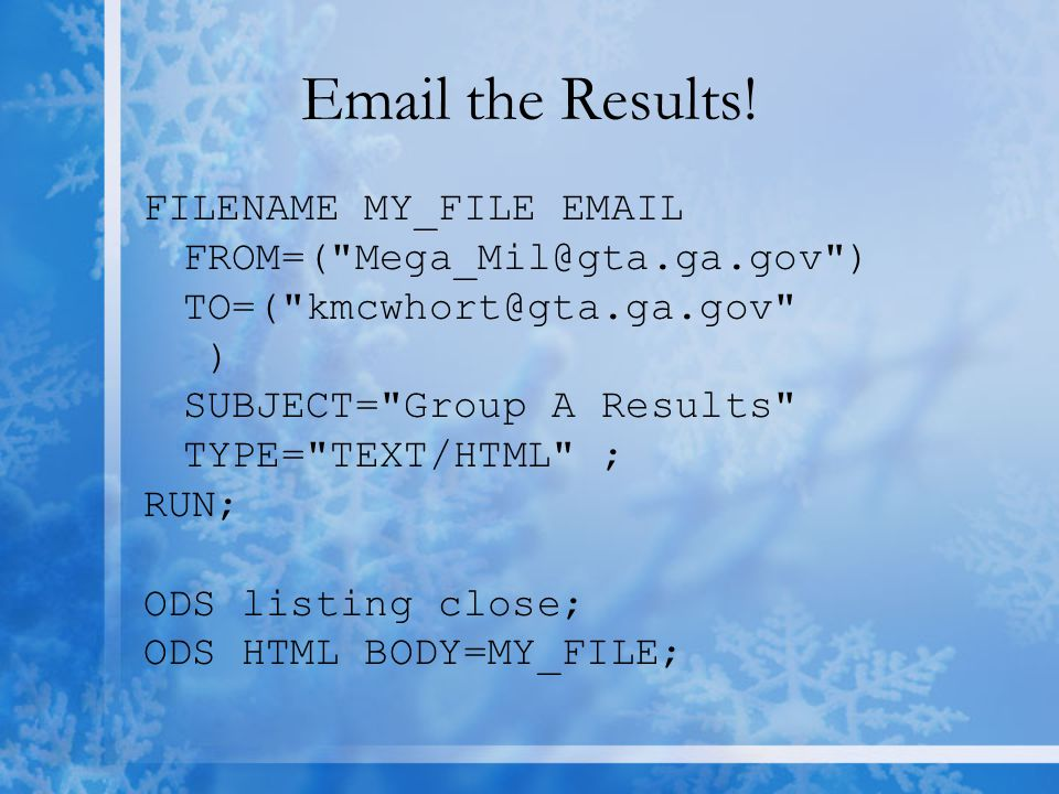 Email the Results.