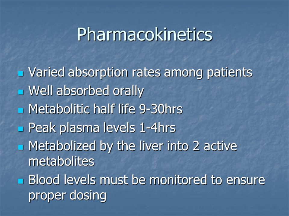 Pharmacokinetics Varied absorption rates among patients Varied absorption rates among patients Well absorbed orally Well absorbed orally Metabolitic h
