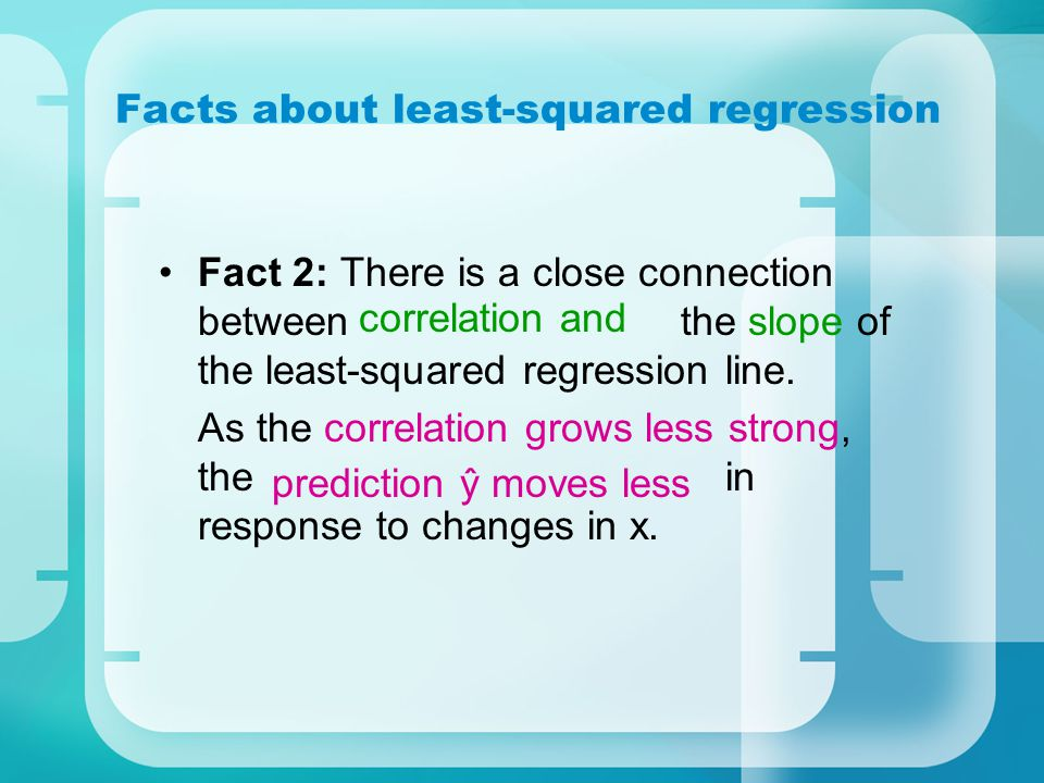 Facts about least-squared regression Fact 2: There is a close connection between the slope of the least-squared regression line.