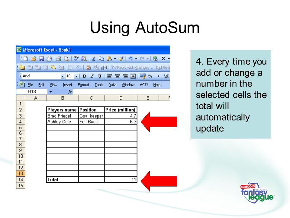 Using AutoSum 4.