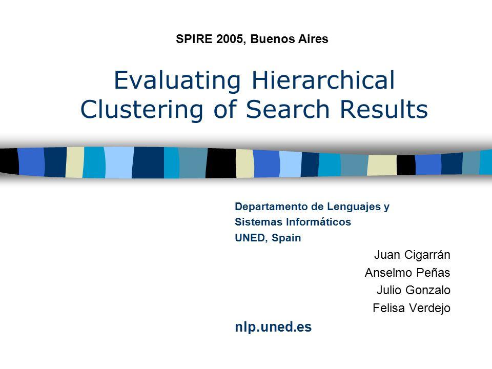 Evaluating Hierarchical Clustering of Search Results Departamento de Lenguajes y Sistemas Informáticos UNED, Spain Juan Cigarrán Anselmo Peñas Julio Gonzalo Felisa Verdejo nlp.uned.es SPIRE 2005, Buenos Aires