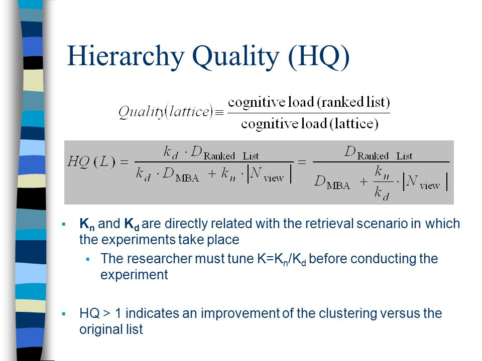 Hierarchy Quality (HQ)  K n and K d are directly related with the retrieval scenario in which the experiments take place  The researcher must tune K=K n /K d before conducting the experiment  HQ > 1 indicates an improvement of the clustering versus the original list