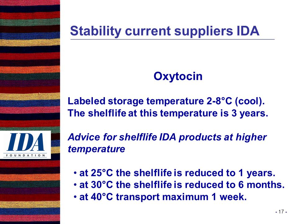 - 17 - Stability current suppliers IDA Oxytocin Labeled storage temperature 2-8°C (cool).